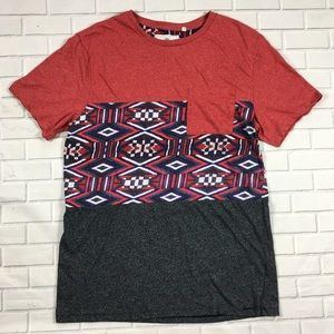 On the Byas Mens Red Blue White Gray Aztec Sz M